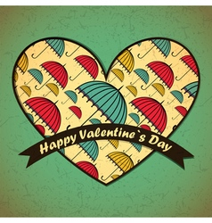 Valentine day card with umbrellas and heart vector