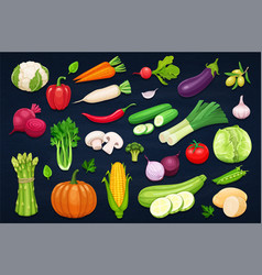 Vegetables icons set in cartoon style vector