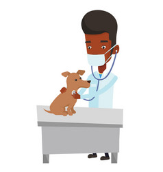 veterinarian examining dog vector image