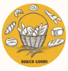 Vintage baked goods basket banner vector