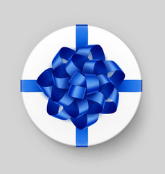 white round gift box with blue bow and ribbon vector image vector image