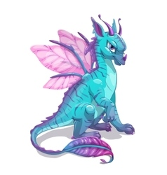 Cartoon blue fantasy dragon vector