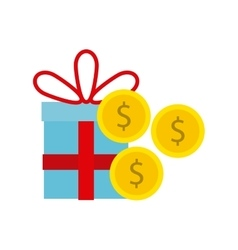 Gift present with coins icon vector