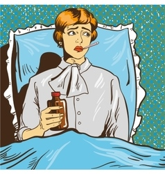 Sick woman with fever lie down on a bed in vector