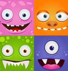Set of funny cartoon expression monsters vector