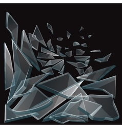 Broken glass pieces flow vector