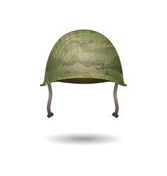 Design of military modern helmet with camouflage vector