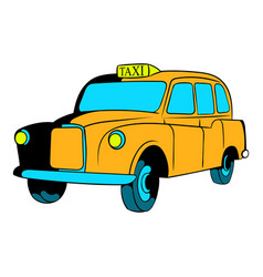 yellow taxi icon cartoon vector image