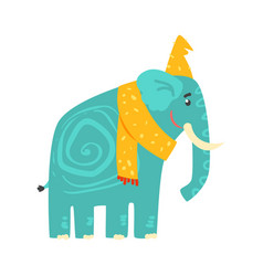 Cute turquoise cartoon elephant in a yellow hat vector