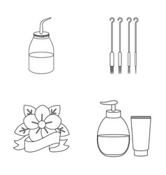 Gel needles and other equipment tattoo set vector