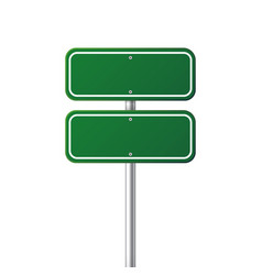 Road green traffic sign blank board with place vector