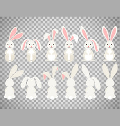 Easter cartoon bunny on transparent background vector