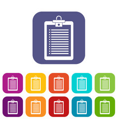 clipboard with check list icons set vector image