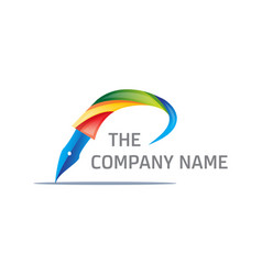Colorful pen logo vector
