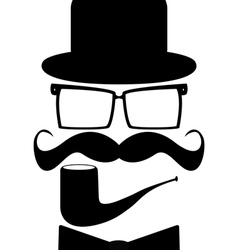 Set mustache hats glasses vector
