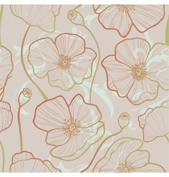 Elegance seamless pattern with poppy vector