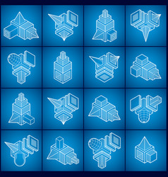3d engineering abstract shapes collection vector image vector image