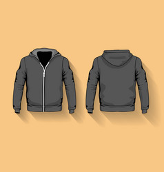 Men s hoodie shirts template front and back vector