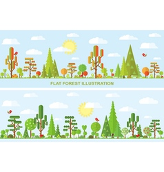 Flat tree autumn spring vector
