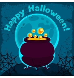 Happy halloween greeting card with pot of potion vector