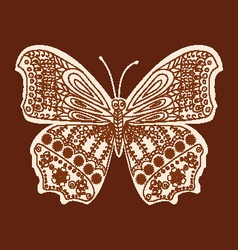 Tattoo doodle henna butterfly vector