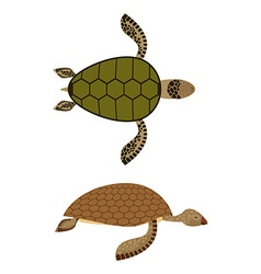 Set water turtle side view and top view deep-sea vector