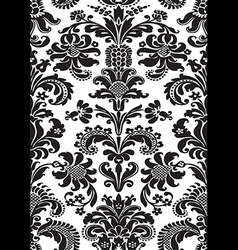 Seamless floral damask pattern black white color vector