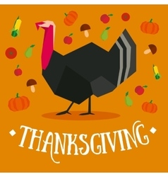 Thanksgiving square postcard with turkey vector