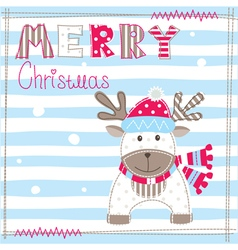 Christmas greeting card with cute dear vector