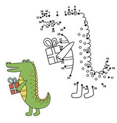 Connect the dots to draw the cute alligator and co vector