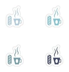 Set of paper stickers on white background cup of vector