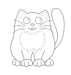 Cartoon smiling gentle kitty sit coloring book vector