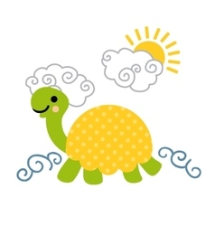 Cute cartoon smiling turtle swimming in the sea vector