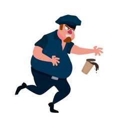 a fat policeman runs and drops coffee vector image