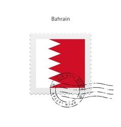 Bahrain flag postage stamp vector