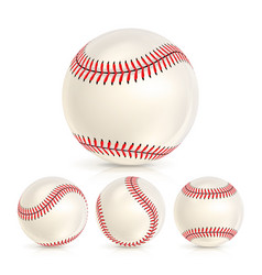 baseball leather ball close-up set isolated on vector image vector image