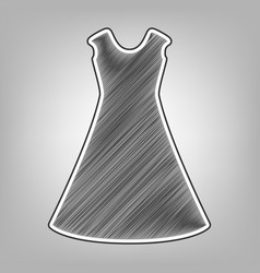 Beautiful long dress sign pencil sketch vector