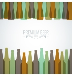 beer bottles with glasses design background vector image vector image