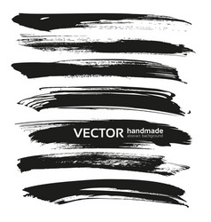 Black big long brush strokes set isolated on a vector