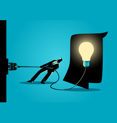 Businessman trying to unplug the light bulb brain vector