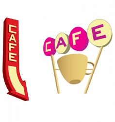 cafe signs vector image vector image