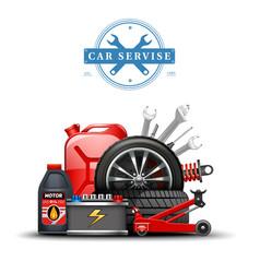 Car service center accessories composition vector