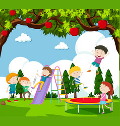 Children playing slide and bouncing on trampoline vector