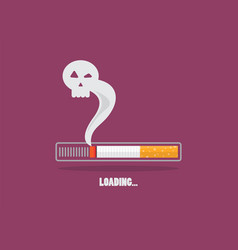 Cigarette burning as cancer loading bar vector