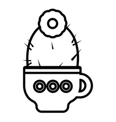 Cup cactus icon outline line style vector