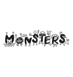 cute monsters cartoon characters vector image