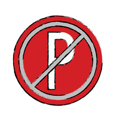 Drawing prohibited parking car sign traffic vector