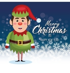 elf cartoon merry christmas card design graphic vector image
