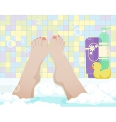 Female feet in bathroom vector