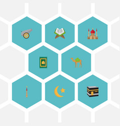 Flat icons minaret dromedary new lunar and other vector